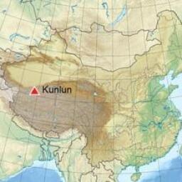El casquete de Guliya está en las montañas Kunlun, señaladas en la imagen